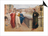 Dante Alighieri Italian Writer Meeting His Beloved Beatrice Portinari on the Lung'Arno Florence Print by Henry Holiday