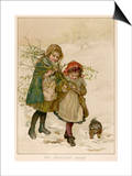 Two Girls and Their Dog Gather Mistletoe in the Snow Posters by  Lizzie