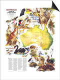 1979 Australia, Land of Living Fossils Map Prints