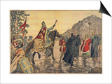 Charlemagne Makes a Pilgrimage to Mont Tombe, Now known as Mont Saint-Michel Posters