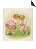 Two Very Small Girls Introduce Their Dolls to Each Other Print by Ida Waugh