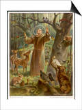 Saint Francis of Assisi, Preaching to the Animals Print by Hans Stubenrauch