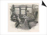 Silver Blaze Holmes and Watson in a Railway Compartment Print by Sidney Paget