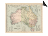 Map of Australia with Names of Counties Posters