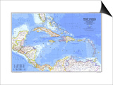 1981 West Indies and Central America Map Art