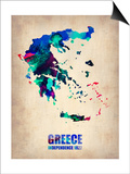 Greece Watercolor Poster Print by  NaxArt