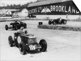 MG, Alfa Romeo, and Bugatti in British Empire Trophy Race at Brooklands, 1935 Print