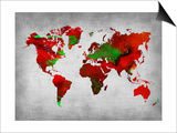 World Watercolor Map 11 Print by  NaxArt