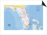 1973 Close-up USA, Florida Map Posters