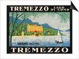 The Label for the Grand Hotel at Tremezzo on Lake Como Poster