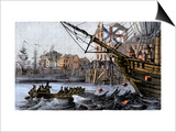 Boston Tea Party, a Protest against British Taxes Before the American Revolution, c.1773 Prints