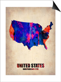 Usa Watercolor Map 1 Prints by  NaxArt