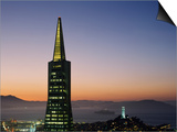Buildings Lit Up at Dusk, Transamerica Pyramid, Coit Tower, San Francisco, California, USA Prints