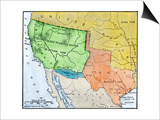 Map of the Territory Ceded by Mexico to the U.S. after the Mexican-American War, c.1848-1853 Posters