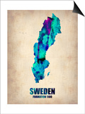Sweden Watercolor Poster Prints by  NaxArt