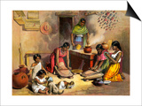 Mexican Women Making Tortillas, 1800s Prints