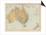 Map Showing Australia Tasmania New Zealand and Neighbouring Islands Print