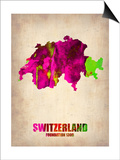 Switzerland Watercolor Map Prints by  NaxArt