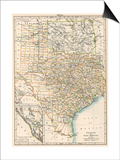 Map of Texas and Indian Territory (Now Oklahoma), 1870s Posters