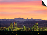 Skyline and Mountains at Dusk, Denver, Colorado, USA Poster