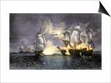 John Paul Jones's Ship, Bon Homme Richard, Defeating the British Serapis, c.1779 Prints