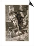 Witch Sacrifices a Child Over the Naked Body of Her Client Kunstdrucke von Martin Van Maele