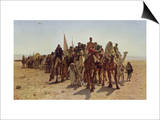 Caravan of Pilgrims Cross the Desert to Mecca Prints by Leon Belly