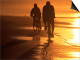 Couple Biking Toward Sunset, Monterey, CA Poster by Hal Gage