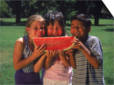 Children in Park Eating Watermelon Prints by Mark Gibson