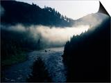 Fog over a River at Dawn, Lochsa River, Idaho, USA Prints