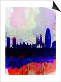 Barcelona Watercolor Skyline 2 Prints by  NaxArt