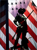US Flag with Silhouetted Statue of Soldier Art by Whitney & Irma Sevin