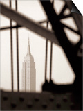 Empire State Building Through Manhattan Bridge Posters by John Glembin