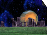 Stonehenge at Night with Mars in Background Prints by Tomas del Amo