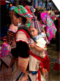 Flower Hmong Woman Carrying Baby on Her Back, Bac Ha Sunday Market, Lao Cai Province, Vietnam Prints