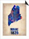Maine Watercolor Map Prints by  NaxArt