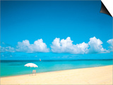 Sunshade And Deck Chair on the Beach Prints by Green Light Collection