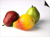 Three Pears, Red, Yellow and Green, on White Background Art by Diane Miller