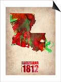 Louisiana Watercolor Map Print by  NaxArt