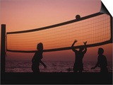 Sunset Beach Volleyball Posters by Mitch Diamond