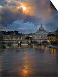 Arch Bridge across Tiber River with St. Peter's Basilica in the Background, Rome, Lazio, Italy Prints
