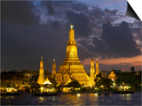 Buddhist Temple Lit Up at Dawn, Wat Arun, Chao Phraya River, Bangkok, Thailand Prints by  Panoramic Images