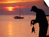 Silhouette of Man Fishing, Lake Erie, Lorain, OH Prints by Jeff Greenberg