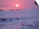 Beach at Sunset, Rio de Janeiro, Brazil Posters by Jeff Dunn