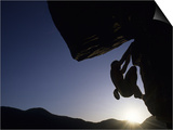Silhouette of Rock Climber, Boulder, Colorado, USA Prints