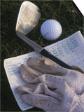 Golf Ball, Club, Golf Glove, and Score Card Prints by Ellen Kamp