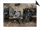 General Robert E. Lee Surrendering the Confederate Army to Union General Ulysses S. Grant, c.1865 Prints