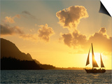 Sailing Yacht at Sunset off Coast of Hanalai Bay, Kauai, Hawaii, USA Art by Rolf Nussbaumer