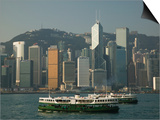 Star Ferry with Buildings in the Background, Central District, Hong Kong Island, Hong Kong Prints