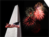 Collage of the Washington Monument, American Flag, and Fireworks Posters by Diane Miller